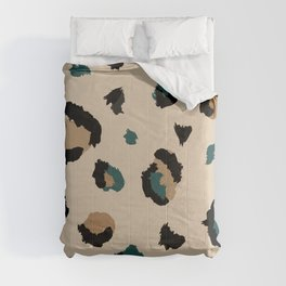 Leopard Print and Teal- Light Tan Comforters