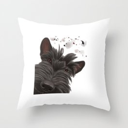 Curious Scottish Terrier Dog Throw Pillow