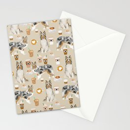 Shetland Sheepdog blue merle sheltie dog breed coffee pattern dogs portrait sheepdogs art Stationery Cards