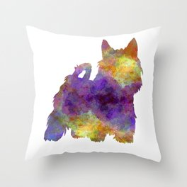 Australian Silky Terrier in watercolor Throw Pillow