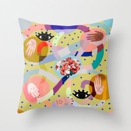 abstract evil eye , female hands, dots, love, flowers Throw Pillow
