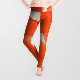 Mid Century Modern Abstract Painting Orange Watercolor Brush Strokes Leggings