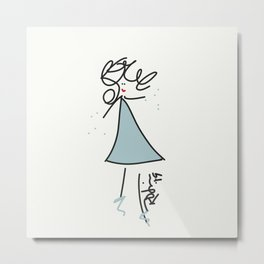 Stick Girl Blue Dress Metal Print