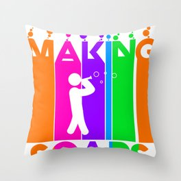 Making-soaps  Colorful Bubbles Throw Pillow