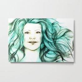 Mermaid (Aqua) - Sketch to Digital Metal Print