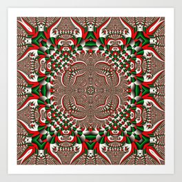 Kaleidoscope No.76 Red Green and White Art Print