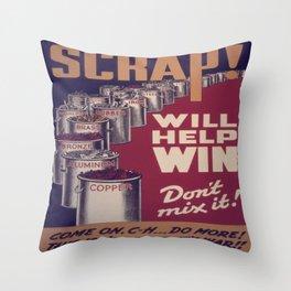 Vintage poster - Scrap metal Throw Pillow