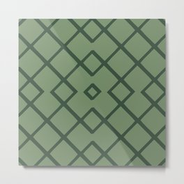 Bamboo Lattice Mudcloth in Sage + Pine Metal Print