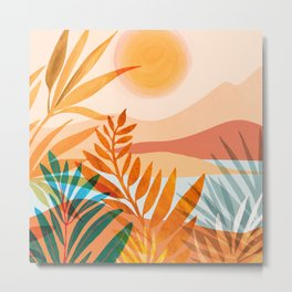 Golden Greek Garden / Sunset Landscape Metal Print