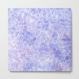 Lavender and white swirls doodles Metal Print