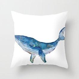 Digital blue whale Throw Pillow