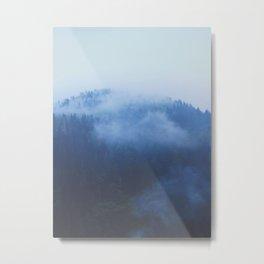 Minimalist Foggy Misty Ink Blue Pine Forest Landscape Photography Metal Print