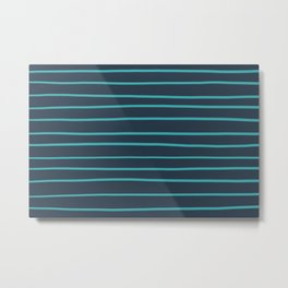 Aqua Teal Turquoise Solid Color Hand Drawn Horizontal Line Stripe Pattern on Navy Blue - Aquarium SW 6767 Metal Print