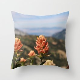 Valley behind the Flowers Throw Pillow