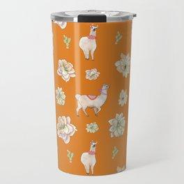 Llamas and Flowers in the Desert (orange palette) Travel Mug