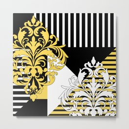 Abstract black white and yellow Metal Print