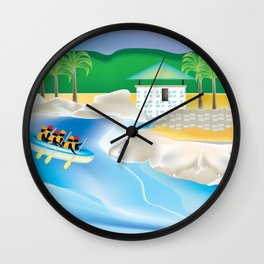 Dominican Republic - Skyline Illustration by Loose Petals Wall Clock