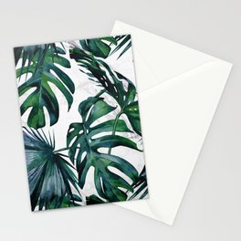 Tropical Palm Leaves Classic on Marble Stationery Cards