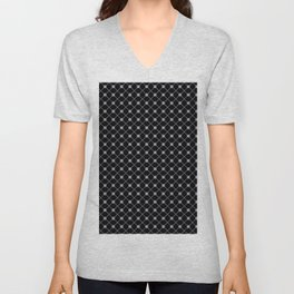Pantone Lilac Gray Thin Line Stripe Grid (Pinstripe) and Polka Dots on Black Unisex V-Neck