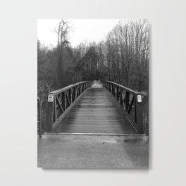 Lonely Bridge in Winter Woods Metal Print