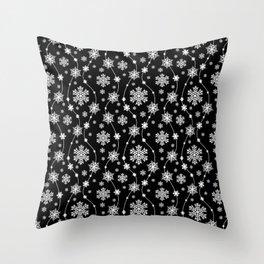 Festive Black and White Snowflake Pattern Throw Pillow