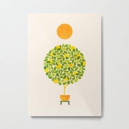 Sunshine + Lemon Tree Illustration Metal Print