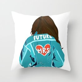 Future MRS Brunette bride Throw Pillow