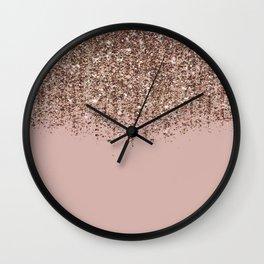 Blush Pink Rose Gold Bronze Cascading Glitter Wall Clock