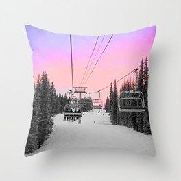 Ski Lift Sunset Shot on iPhone 4 Throw Pillow