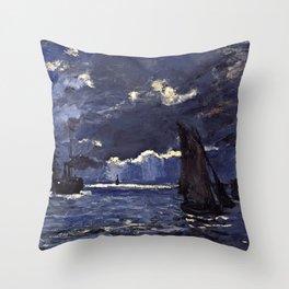 Claude Monet - A Seascape, Shipping By Moonlight Throw Pillow