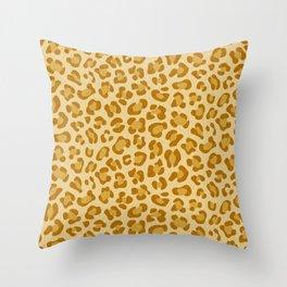 Leopard - Spicy Mustard Throw Pillow