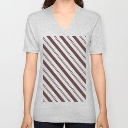 Pantone Red Pear and White Stripes Angled Lines Unisex V-Neck