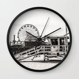 Lifeguard Tower California Black and White Wall Clock