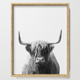 Highland cow   Black and White Photo Serving Tray
