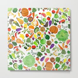 Fruit and Veg Pattern Metal Print