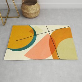 mid century geometric shapes painted abstract III Rug