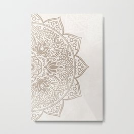 Brown Beige Taupe Mandala - right side Metal Print