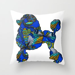 Floral Poodle Throw Pillow