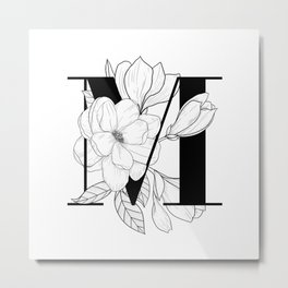 Monogram Letter M with Magnolia Line Art  Metal Print