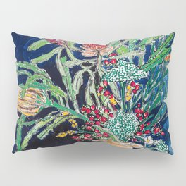 Yellow and Red Australian Wildflower Bouquet in Pottery Vase on Navy, Original Still Life Painting Pillow Sham