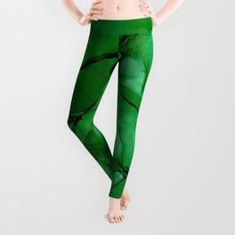 Deep Green Abstract: Original Alcohol Ink Painting Leggings
