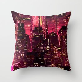 Red neon city Throw Pillow