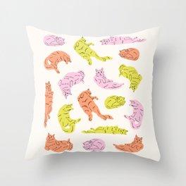 Sleepy Kitty II Throw Pillow