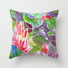 original silk painting of water lilies Throw Pillow
