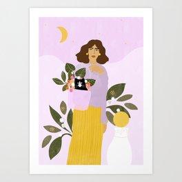 Shopping with Cat Purple Art Print