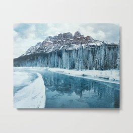 Frosty Morning at Castle Mountain Metal Print