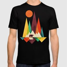 Bear In Whimsical Wild Black LARGE Mens Fitted Tee
