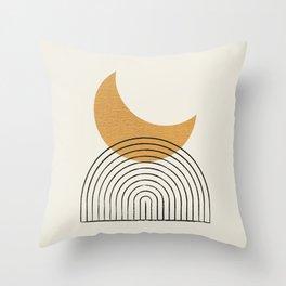 Moon mountain gold - Mid century style Throw Pillow