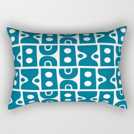 Funky Mid Century Modern Pattern Peacock Blue Rectangular Pillow