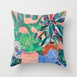 Jungle of House Plants Blush Still Life Painting with Blue Lion Figurine Throw Pillow